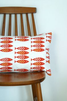 Newlyn Fish cushion cover Red £18.00