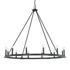 Our Pearson 12-light chandelier illuminates open spaces with its clean lines and timeless charm. The candle-style lights give it a rustic look when filled with traditional candleabra bulbs, while round G16 bulbs give it a chic, modern interpretation. Or try vintage-style bulbs for a more industrial vibe. Finished in Black Iron, it's a versatile design...  Read more »
