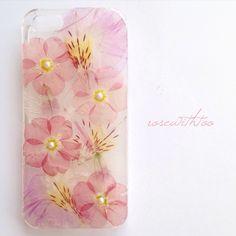 iPhone5/5s用 フラワーアートケース 押し花デザイン 0508_1