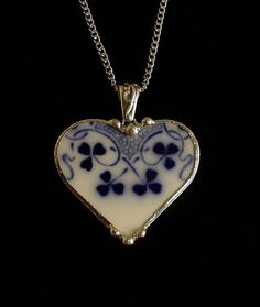 Broken china jewelry heart pendant necklace antique flow blue clover shamrock