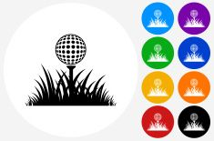 Golf Ball in  Grass Icon on Flat Color Circle Buttons vector art illustration