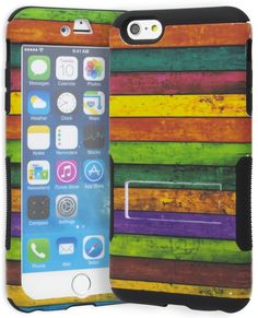 """iPhone 6 Plus Phone Case, Bastex Hybrid Heavy Duty Protective Soft Black Silicone Cover Hard Multi Colored Stripes Design Kickstand Case for Apple iPhone 6 Plus, 5.5"""". Protect your phone with this stylish premium high-quality case. This high-quality case is thick and durable for optimal protection. Protects the phone from scratches and dust. Color designed to give your phone a unique style. Free BASTEX Cleaning Cloth. Gives complete access to all functions of the phone."""