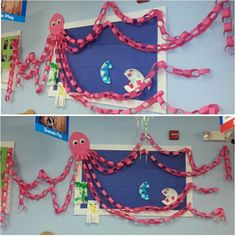 Toddler Deep Blue Sea theme: octupus board...disregard the number of legs - there wasn't enough room for all 8!!! But what a display :)