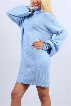 Bogazli Buz Mavisi Balon Kol Bayan Kazak 10179b Kazak Elbise Kadin Giyim Moda Stilleri