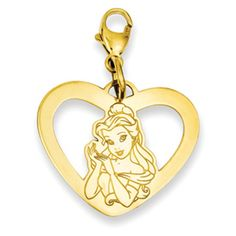 Disney Princess Belle (Beauty and the Beast) in Heart Dangle Charm with Lobster Claw.  Sterling Silver with Gold Plating or Rhodium Plating.  Also available as standard pendant.