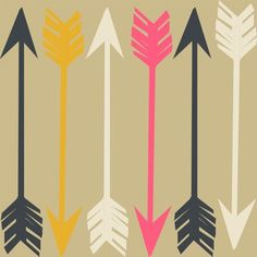Arrows on Tan fabric by papersparrow for sale on Spoonflower - custom fabric, wallpaper and wall decals