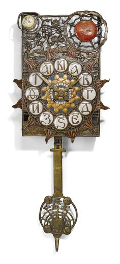 "Abramtsevo Artist's Colony - Pendulum Clock. Copper, Brass, Enamel and Glass, with a German Movement. Decorated with Scenes from the Opera Snegurochka. Exhibited in the Glasgow Exhibition, 1901. Khotkovo, Russia. Circa 1900. 17"" x 13-3/4"""