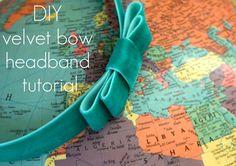 DIY velvet bow headband
