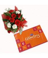 Floral Boom Seasonal Flowers Arrangement (consisting of 4 Roses, 3 Pink Gerberas, 3 Carnations with Fillers Flowers) with cadbury celebration pack gms Seasonal Flowers, Carnations, Special Day, Floral Arrangements, Best Gifts, Roses, India, Seasons, Rose