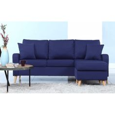 Modern Fabric Small Space Sectional Sofa with Reversible Chase