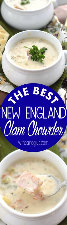 - This New England Clam Chowder will knock your socks off! The perfect comfort fo… This New England Clam Chowder will knock your socks off! The perfect comfort food for a cold night. Fish Recipes, Seafood Recipes, Soup Recipes, Cooking Recipes, Garlic Recipes, Bacon Recipes, Cream Recipes, Recipes Dinner, Recipies