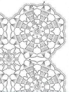Victorian Fan and Flowers Crochet Bedspread Pattern, Lily Mills No 805 Crochet Mandala Pattern, Crochet Square Patterns, Crochet Motifs, Crochet Blocks, Crochet Diagram, Doily Patterns, Crochet Squares, Crochet Chart, Crochet Granny