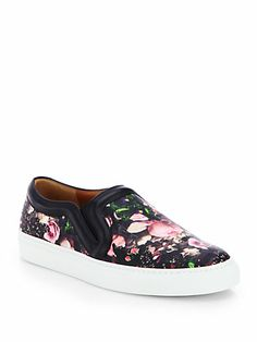 Givenchy - Rose Camouflage-Print Leather Laceless Sneakers - Saks.com.  Love that the floral pattern is on a black background.