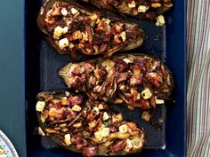 Mushroom-Stuffed Eggplant - Quick Vegetable Main Dishes on Food & Wine Vegetable Tart, Vegetable Dishes, Vegetable Recipes, Food Dishes, Main Dishes, Side Dishes, Healthy Cooking, Healthy Recipes, Meatless Recipes