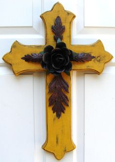 DC032 Large Yellow Wood Cross with Rustic Rose and by DiaMorDecor, $85.00