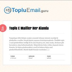 http://www.Topluemail.guru #topluemail, toplu email,  Toplu Email Uygulamaları Toplu email uygulamaları, son yılların en etkili iletişim, satış ve pazarlama tekniklerinden biridir. Reklamcılık, internet uygulamalarının gelişmesi sayesinde artık yepyeni bir boyut kazanmıştır.