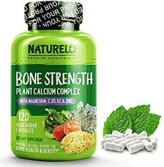 NATURELO Bone Strength with Plant Calcium Magnesium Vitamins C Best WholeFood Supplement for Bone Health 120 Vegetarian Capsules -- To view further for this item, visit the image link. (This is an affiliate link) Magnesium Vitamin, Vitamin D3, Magnesium Supplements, Metabolism Supplements, Sin Gluten, Magnesium Glycinate, Vegan Vitamins, Bone Strength, Bone Density