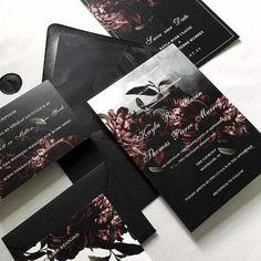 Dark Moody Floral Wedding Invitations, Dark Floral Invitations, Dark and Moody Wedding Invitations, Wedding Invitations, Weddings Perfect Wedding, Our Wedding, Dream Wedding, Geek Wedding, Rustic Wedding, Spring Wedding, Edgy Wedding, Wedding Black, October Wedding