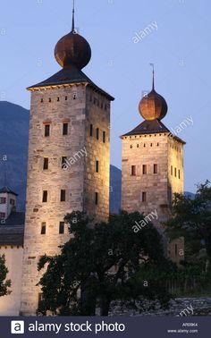 Stock Photo - Stockalper castle at dusk in Brig, Valais, Switzerland Wallis, Palaces, Dusk, Switzerland, Castles, Taj Mahal, Europe, Stock Photos, Building