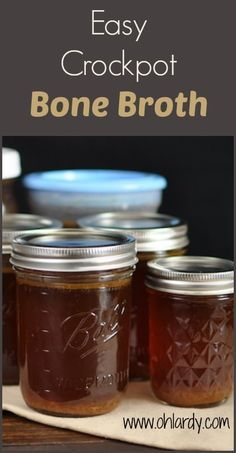 Easy Crockpot Chicken Bone Broth.  Bone broth is economical, versatile in the kitchen and has tons of health benefits: gut health, immune system support, collagen and gelatin.  This traditional food is a healthy staple in the real food kitchen.  - www.ohlardy.com