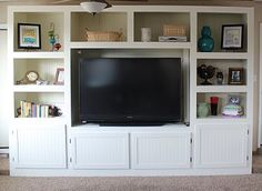 Living Room Renovation With DIY Entertainment Center for Flat Screen TV - Construction - ShelterHub