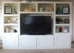 Living Room Renovation With DIY Entertainment Center for Flat Screen TV - Construction - ShelterHub