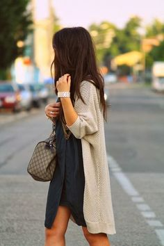long cardigan, dress, bag