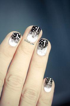 Black and white nails. Get Nails, How To Do Nails, Hair And Nails, Garra, Nailart, Fingernail Designs, Happy Nails, Flower Nail Art, Fabulous Nails