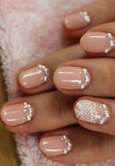 65 Ideas Wedding Nails French Ring Finger Rhinestones - 65 Ideas Wedding Nails For . Elegant Nail Designs, Winter Nail Designs, Elegant Nails, Toe Nail Designs, Acrylic Nail Designs, French Nails, Bridal Nails French, Wedding Day Nails, Wedding Nails Design
