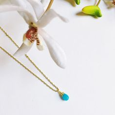 Tiny Turquoise Color Briolette Bead Necklace from Midori Jewelry
