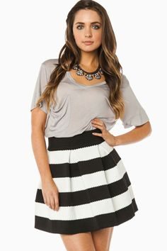 ShopSosie Style : Eliza Skirt in Black and White