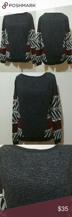 SANCTUARY SWEATSHIRT/SWEATER SLEEVES Loving this funky, Aztec  print, high low like sweatshirt/sweater.  It is Gently Worn, in excellent used condition, and perfect for the fall!!!  It has a bit of a wider crewneck,  and printed illusion sides that are  burgundy, white, black and gray in color. This would look great paired with jeans and booties. Size M. Sanctuary Tops Sweatshirts & Hoodies