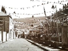 Bunting hung out to celebrate tbe coronation of King George VI Old Pictures, Old Photos, King George, Somerset, Bunting, Hanging Out, Bath, Street, Antique Photos