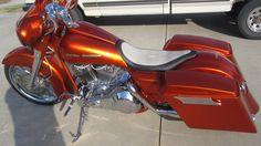 Beautiful Harley Orange Bagger.