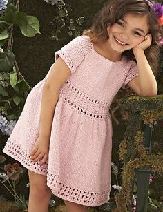 Dress pattern by Irina Poludnenko Textured Dress by Irina Poludnenko - Knit Simple Magazine, Spring/Summer 2012 Girls Knitted Dress, Knit Baby Dress, Crochet Girls, Crochet Baby, Knit Crochet, Ravelry Crochet, Knitted Baby, Knitting For Kids, Easy Knitting