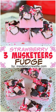 3 Musketeers candy bars add a fun twist to this easy strawberry fudge
