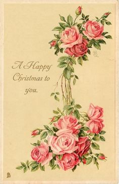 Pink, Vintage Shabby Chic greeting card for Christmas!