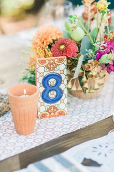 Quick Tip: Mexican Tile Table Numbers: http://www.stylemepretty.com/2015/10/22/quick-tip-mexican-tile-table-numbers/ | Photography: Honey Honey - http://www.hoooney.com/