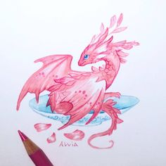 Cute Dragon Drawing, Dragon Sketch, Cute Fantasy Creatures, Mythical Creatures Art, Creature Drawings, Animal Drawings, Baby Dragon Tattoos, Dragon Tattoo With Flowers, Dragon Nursery