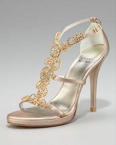 Stuart Weitzman Jeweled T-Strap Sandal in Beige/Gold