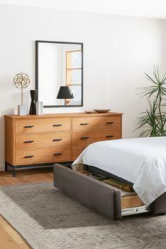Modern leather storage bed