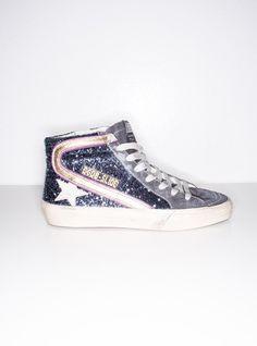 Sneaker Slide in Blue Glitter BY GOLDEN GOOSE