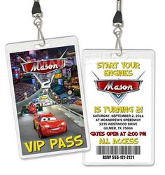Cars VIP Pass Birthday Party Invitations Favors by thatpartygirl, $19.99