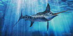 Blue Marlin Original Painting By Lawrence Dyer Wildlife Marine Sport Fishing Underwater Art  Deep Se