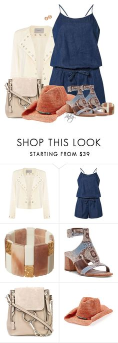"""""""Denim Playsuit and Eyelet Jacket"""" by pinkystyle ❤ liked on Polyvore featuring Marella, Dorothy Perkins, Phase Eight, Donald J Pliner, Chloé, Flora Bella, Michael Kors and strawhat"""