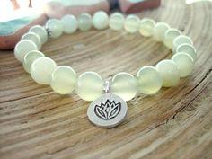 Lotus Charm Bracelet  Yoga Mala New Jade Beaded by MerkabaWarrior, £18.00