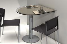 Le presentamos esta magnífica mesa de cocina, concebida como un mostrador de gran versatilidad y con la que hará de su cocina un lugar más atractivo. Está compuesta por pie con acabado en aluminio y encimera de MDF, con cristal transparente templado en la parte superior. Podrá elegir entre una fantástica gama de colores.