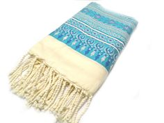 Turquoise Fouta towel with a metallic touch by Foutaz on Etsy