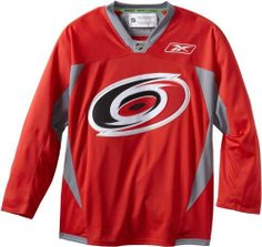 NHL Carolina Hurricanes Practice Jersey, Red, Medium Reebok. $67.77. Craft your very own NHL® wardrobe with the Reebok® practice jersey. This mid-weight jersey is designed with the team's crest embroidered on the chest. The Reebok® vector is embroidered on the back of the neck and front left chest.