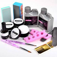 Vip Beauty Shop Nail Art Crystal Acrylic Powder Liquid Kit Buffing Brush Pen Full Set >>> For more information, visit image link.
